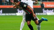 Frankfurt's Portuguese forward Goncalo Paciencia (foreground) and Bayern Munich's German defender Jerome Boateng vie for the ball during the German first division Bundesliga football match between Eintracht Frankfurt and FC Bayern Munich on November 2, 2019 in Frankfurt am Main, western Germany. (Photo by Daniel ROLAND / AFP) / DFL REGULATIONS PROHIBIT ANY USE OF PHOTOGRAPHS AS IMAGE SEQUENCES AND/OR QUASI-VIDEO (Photo by DANIEL ROLAND/AFP via Getty Images)