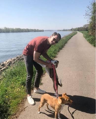 Ex-Nationaltorhüter René Adler führt seine tierischen Begleiter spazieren