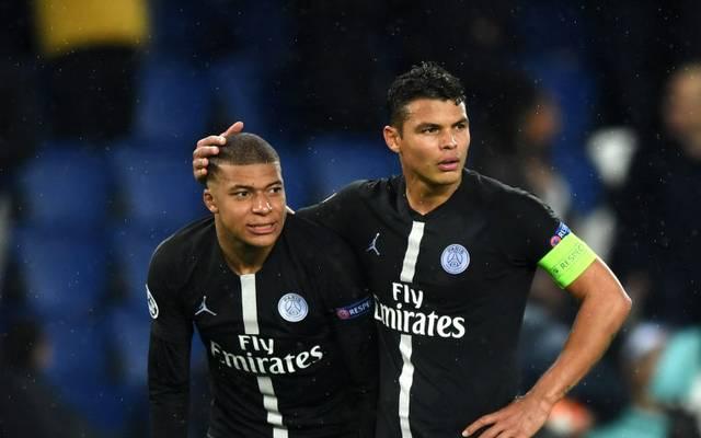 Thiago Silva (r.) fällt bei PSG gegen den BVB aus, der erkrankte Kylian Mbappé (l.) ist fraglich