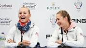 AUCHTERARDER, SCOTLAND - SEPTEMBER 12: Jessica Korda (L) and Nelly Korda (R) both of Team USA talk in a press conference during Preview Day 4 of The Solheim Cup at Gleneagles on September 12, 2019 in Auchterarder, Scotland. (Photo by Jamie Squire/Getty Images)