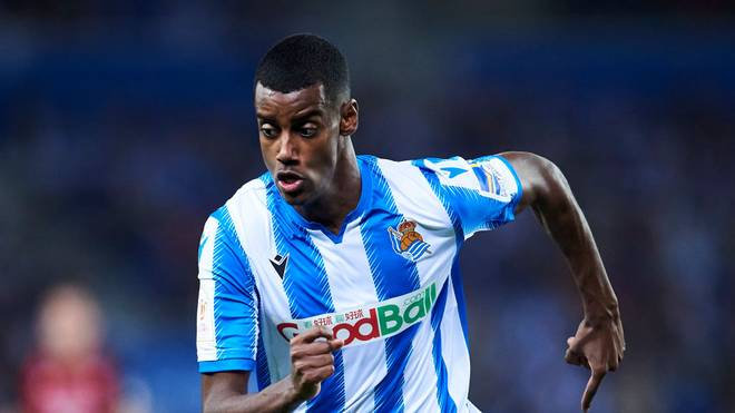 SAN SEBASTIAN, SPAIN - FEBRUARY 13: Alexander Isak of Real Sociedad reacts during the Copa del Rey Semi-Final 1st Leg match between Real Sociedad and Mirandes at Estadio Anoeta on February 13, 2020 in San Sebastian, Spain. (Photo by Juan Manuel Serrano Arce/Getty Images)