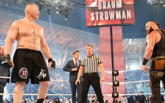 Braun Strowman (r.) soll bei WWE WrestleMania 35 nicht noch einmal auf Brock Lesnar treffen