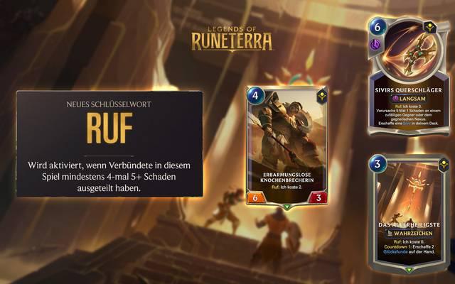 """""""Ruf"""" ist eins von drei  Schlüsselwörtern, die mit der Erweiterung """"Imperien der Aufgestiegenen"""" neu in Legends of Runeterra kommen"""