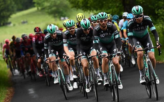 Radsport: Bora-Teamchef Denk fordert strengere Regeln im Umgang mit Kortison , Das Bora-Hansgrohe -Team (vorne) will auch bei der Tour de France vorne mitmischen