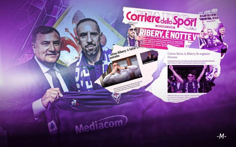 """Franck Ribéry wechselt ablösefrei vom FC Bayern zum AC Florenz und löst Begeisterungsstürme bei den Fiorentina-Fans aus. Die Pressestimmen zu """"Franck il Magnifico"""" und """"Il Fenomeno!"""""""