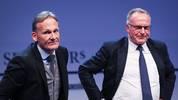BVB-Boss Hans-Joachim Watzke (l.) und Bayerns Vorstandsvorsitzender Karl-Heinz Rummenigge