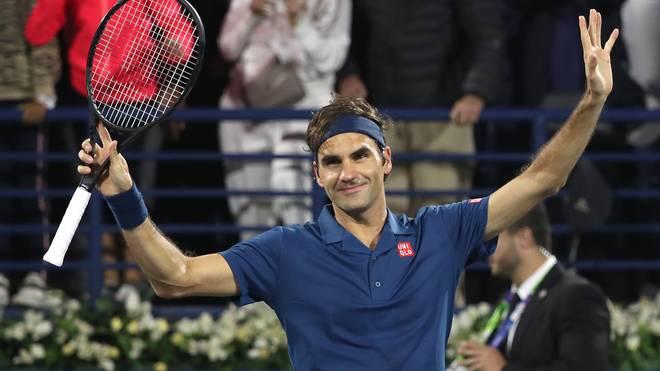 Roger Federer bejubelt seinen Sieg über Borna Coric in Dubai