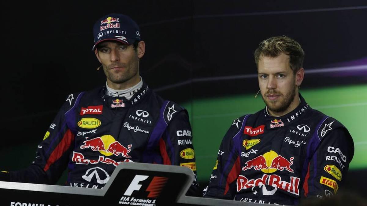 Vier Jahre fuhren Mark Webber (l.) und Sebastian Vettel (r.) gemeinsam bei Red Bull