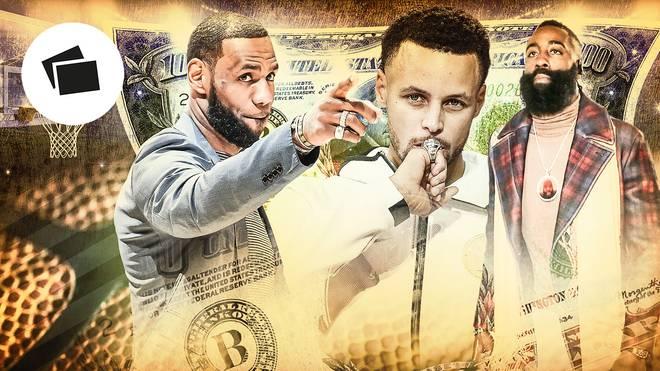 LeBron James (l.), Steph Curry (m.) und James Harden zählen zu den Topverdienern in der NBA