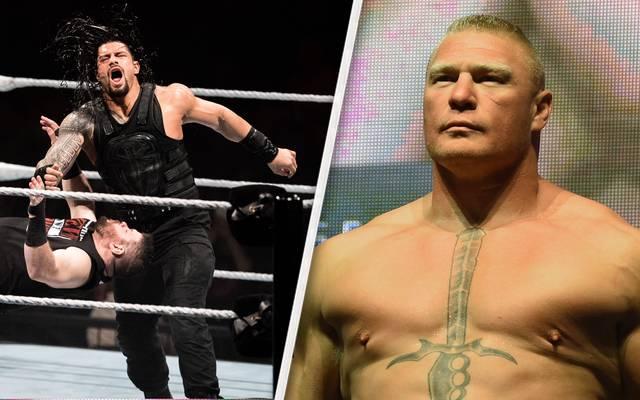 Roman Reigns (l.) soll bei WrestleMania 34 auf Brock Lesnar treffen