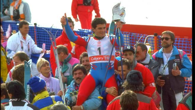 Alberto Tomba gewann bei den Olmypischen Spielen 1988 Gold im Slalom und Riesenslalom