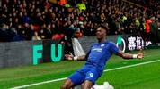 Chelsea's English striker Tammy Abraham celebrates scoring his team's first goal during the English Premier League football match between Watford and Chelsea at Vicarage Road Stadium in Watford, north of London on November 2, 2019. (Photo by Adrian DENNIS / AFP) / RESTRICTED TO EDITORIAL USE. No use with unauthorized audio, video, data, fixture lists, club/league logos or 'live' services. Online in-match use limited to 120 images. An additional 40 images may be used in extra time. No video emulation. Social media in-match use limited to 120 images. An additional 40 images may be used in extra time. No use in betting publications, games or single club/league/player publications. /  (Photo by ADRIAN DENNIS/AFP via Getty Images)