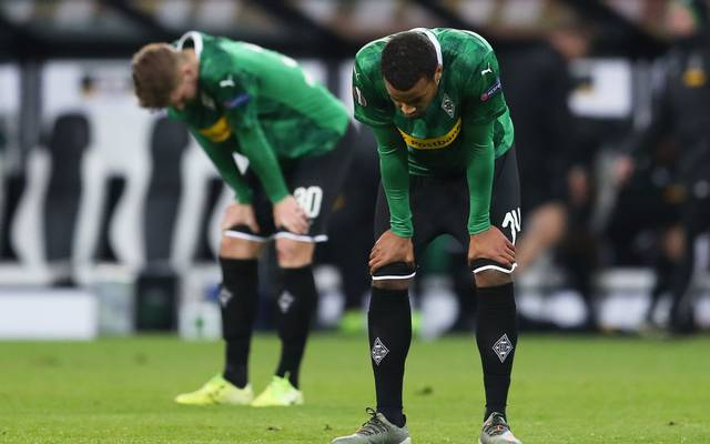 MOENCHENGLADBACH, GERMANY - DECEMBER 12: Alassane Plea of Borussia Monchengladbach looks dejected following the UEFA Europa League group J match between Borussia Moenchengladbach and Istanbul Basaksehir F.K. at Borussia-Park on December 12, 2019 in Moenchengladbach, Germany. (Photo by Lars Baron/Getty Images)