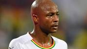 Ghana's midfielder Andre Ayew looks on during the 2019 Africa Cup of Nations (CAN) Group F football match between Cameroon and Ghana at the Ismailia Stadium on June 29, 2019. (Photo by OZAN KOSE / AFP)        (Photo credit should read OZAN KOSE/AFP/Getty Images)