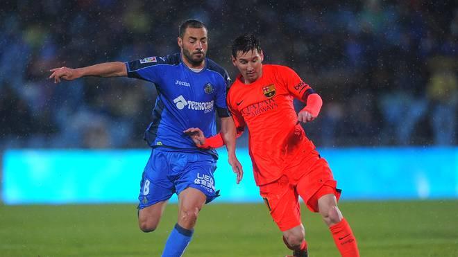 Lionel Messi (r.) blieb beim Hinspiel gegen Getafe ohne Treffer