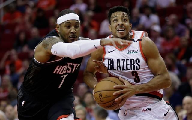 Portland Trail Blazers v Houston Rockets: Carmelo Anthony (l.) ist bei den Houston Rockets derzeit nur ein Schatten seiner selbst