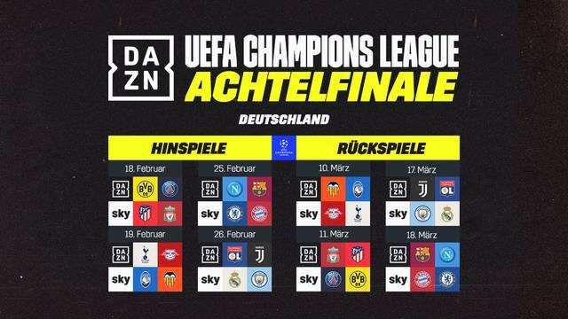 Die Achtelfinal-Übertragungen der Champions League im Überblick
