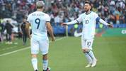 SAO PAULO, BRAZIL - JULY 06: Sergio Aguero of Argentina celebrates after scoring the opening goal with teammate Lionel Messi during the Copa America Brazil 2019 Third Place match between Argentina and Chile at Arena Corinthians on July 06, 2019 in Sao Paulo, Brazil. (Photo by Alexandre Schneider/Getty Images)