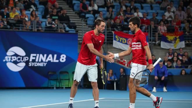 Viktor Troicki (l.) und Novak Djokovic holten den entscheidenden Punkt für Serbien