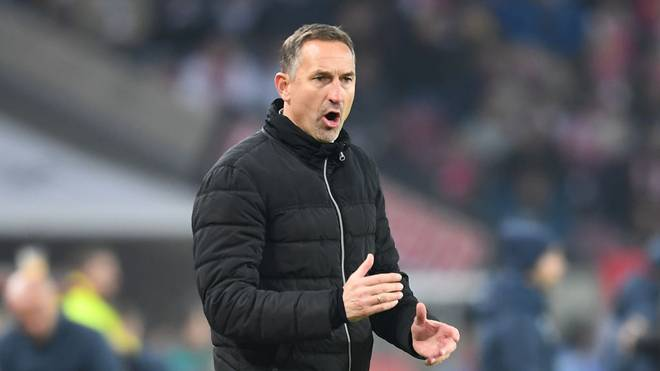 COLOGNE, GERMANY - NOVEMBER 08: Head coach Koeln gives his team instructions during the Bundesliga match between 1. FC Koeln and TSG 1899 Hoffenheim at RheinEnergieStadion on November 08, 2019 in Cologne, Germany. (Photo by JOrg Schuler / Bongarts / Getty Images)