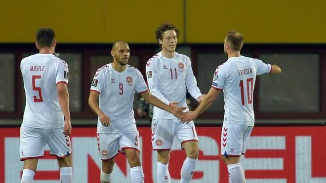 Dänemarks Nationalteam in einem Spiel der WM-Qualifikation