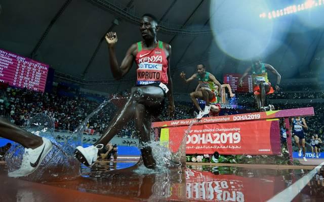 Conseslus Kipruto wurde 2019 Weltmeister über die 3000m Hindernis
