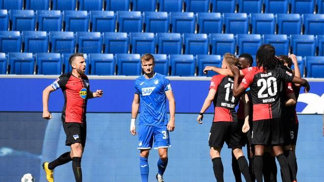 Hertha feiert ausgelassen die 1:0-Führung bei Hoffenheim