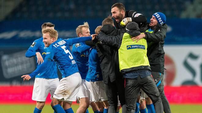 Hansa Rostock feierte den Sieg gegen Verl