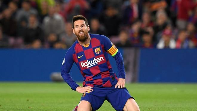 Barcelona's Argentine forward Lionel Messi reacts on the ground during the UEFA Champions League group F football match between FC Barcelona and SK Slavia Prague at the Camp Nou stadium in Barcelona on November 5, 2019. (Photo by Josep LAGO / AFP) (Photo by JOSEP LAGO/AFP via Getty Images)
