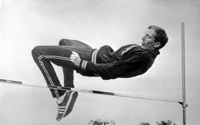 Dick Fosbury beim Training des Fosbury Flop in Mexiko