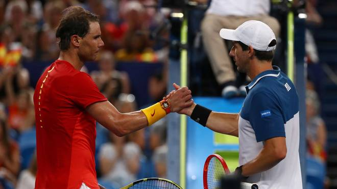 PERTH, AUSTRALIA - JANUARY 06: Rafael Nadal of Team Spain shakes hands with Pablo Cuevas of Team Uruguay during day four of the 2020 ATP Cup Group Stage at RAC Arena on January 06, 2020 in Perth, Australia. (Photo by Paul Kane/Getty Images)