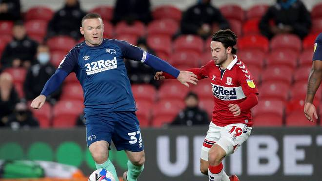 Wayne Rooney im Trikot von Derby County im letzten Spiel seiner Karriere