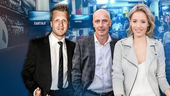 Am Dienstag diskutiert Moderatorin Laura Papendick (rechts) unter anderem mit Kult-Kicker Mario Basler (mitte) und Comedian Oliver Pocher (links) im SPORT1 Fantalk