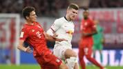 Timo Werner (r.) vergab eine hochkarätige Chance für RB Leipzig