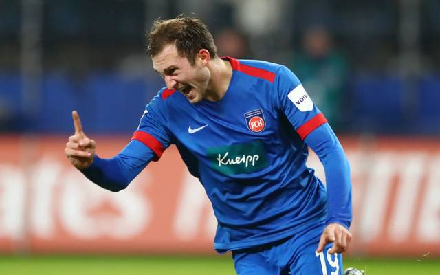 HAMBURG, GERMANY - DECEMBER 06: Jonas Fohrenbach of FC Heidenheim celebrates after he scores his sides first goal during the Second Bundesliga match between Hamburger SV and 1. FC Heidenheim 1846 at Volksparkstadion on December 06, 2019 in Hamburg, Germany. (Photo by Martin Rose/Bongarts/Getty Images)