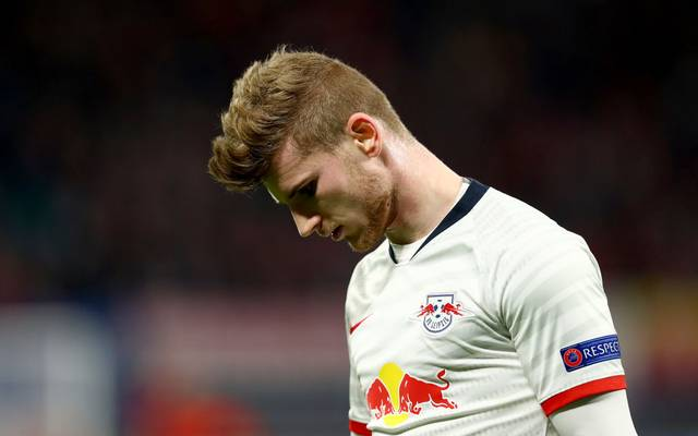 LEIPZIG, GERMANY - MARCH 10: Timo Werner of Leipzig looks on during the UEFA Champions League round of 16 second leg match between RB Leipzig and Tottenham Hotspur at Red Bull Arena on March 10, 2020 in Leipzig, Germany. (Photo by Martin Rose/Bongarts/Getty Images)