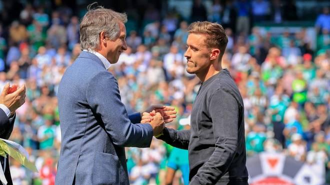 Max Kruse (r.) und Frank Baumann arbeiteten bei Werder Bremen zusammen