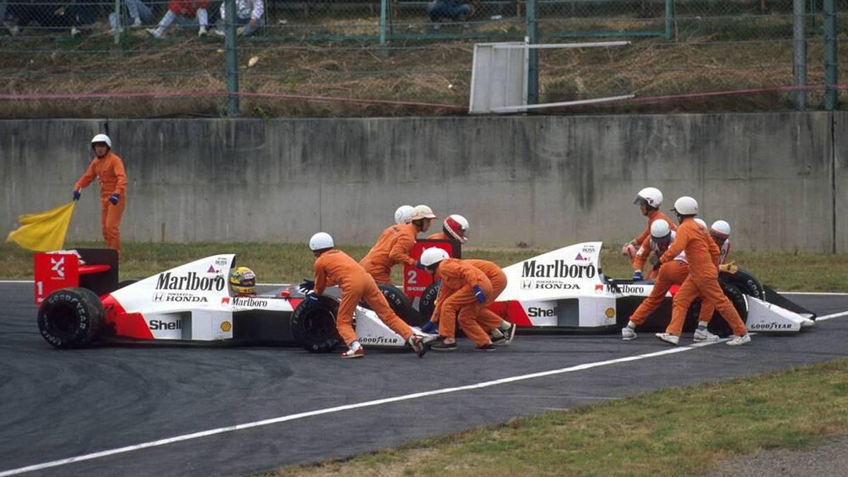 Ayrton Senna und Alain Prost kollidierten 1989 in Suzuka im Kampf um den Titel