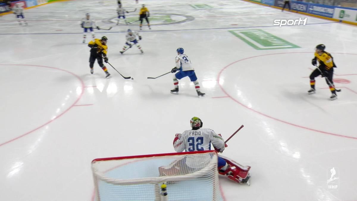 Nach anfänglichen Schwierigkeiten gegen Italien kommt die deutsche Eishockey Nationalmannschaft immer besser in Fahrt. Der Treffer zum 8:2 ist das Highlight der Partie.