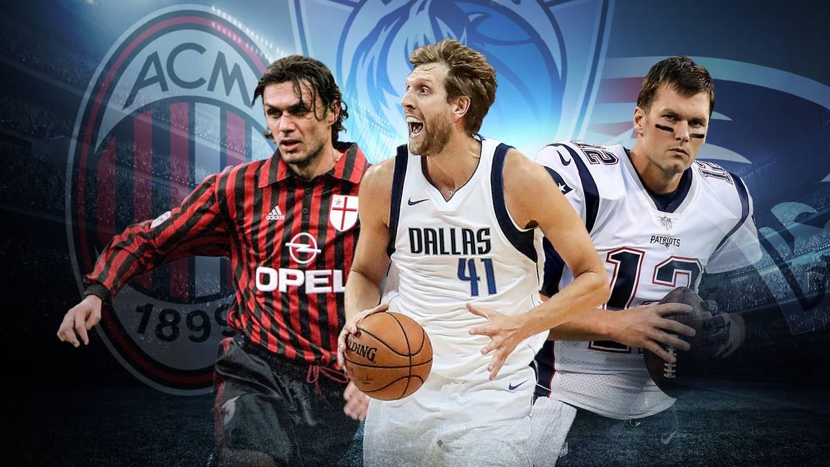 Dirk Nowitzki (M.) spielte seit seinem Wechsel in die NBA nur für die Dallas Mavericks