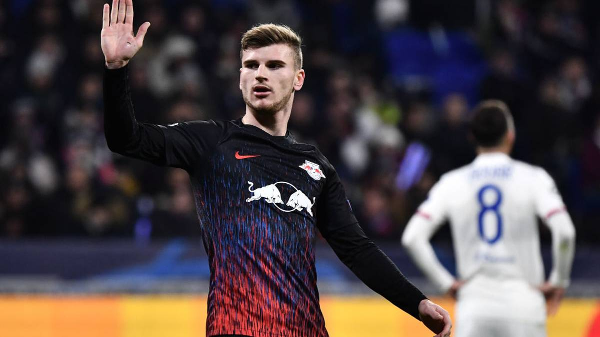 RB Leipzig's German forward Timo Werner celebrates after scoring a goal during the UEFA Champions League group G football match between Olympique Lyonnais (OL) and RB Leipzig, on December 10, 2019 at the Parc Olympique Lyonnais stadium in Decines-Charpieu near Lyon. (Photo by JEFF PACHOUD / AFP) (Photo by JEFF PACHOUD/AFP via Getty Images)