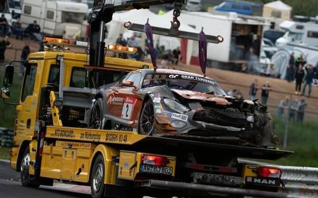 Der Mercedes-AMG GT3 bewahrte Manuel Metzger vor schweren Verletzungen
