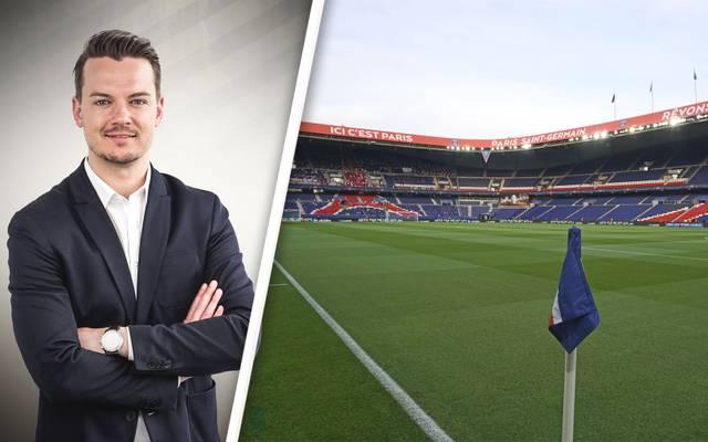 Florian Plettenberg, neben ihm das leere Prinzenpark-Stadion in Paris