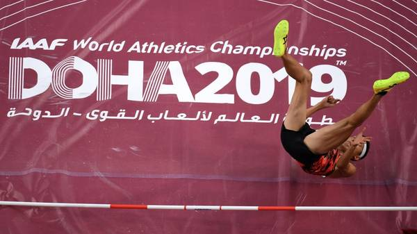 Japan's Takashi Eto competes in the Men's High Jump heats at the 2019 IAAF Athletics World Championships at the Khalifa International stadium in Doha on October 1, 2019. (Photo by Antonin THUILLIER / AFP)        (Photo credit should read ANTONIN THUILLIER/AFP/Getty Images)