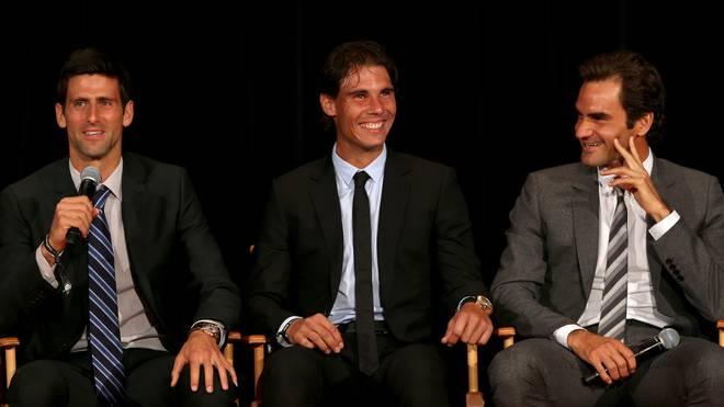 (v.l.) Novak Djokovic, Rafael Nadal und Roger Federer wollen sich mit anderen Tennis-Profis solidarisch zeigen