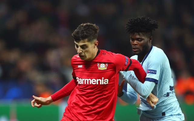 LEVERKUSEN, GERMANY - NOVEMBER 06: Kai Havertz of Bayer 04 Leverkusen battles for possession with Thomas Partey of Atletico Madrid  during the UEFA Champions League group D match between Bayer Leverkusen and Atletico Madrid at BayArena on November 06, 2019 in Leverkusen, Germany. (Photo by Lars Baron/Bongarts/Getty Images)