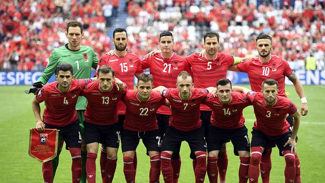 Albania's national football team, (front row, LtoR) Albania's defender Elseid Hysaj, Albania's midfielder Burim Kukeli, Albania's midfielder Amir Abrashi, Albania's defender Ansi Agolli, Albania's midfielder Taulant Xhaka and Albania's midfielder Ermir Lenjani, and (back row, LtoR) Albania's goalkeeper Etrit Berisha, Albania's defender Mergim Mavraj, Albania's midfielder Odise Roshi, Albania's defender Lorik Cana and Albania's forward Armando Sadiku pose for a team photo ahead of the Euro 2016 group A football match between Albania and Switzerland at the Bollaert-Delelis Stadium in Lens on June 11, 2016. / AFP / MARTIN BUREAU        (Photo credit should read MARTIN BUREAU/AFP/Getty Images)