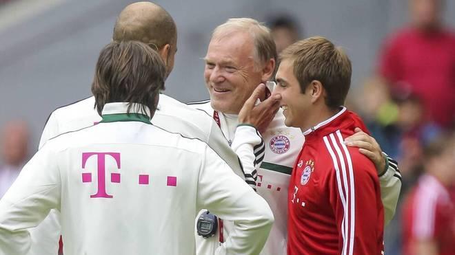 Gerland (Mitte) mit Pep Guardiola und Philipp Lahm