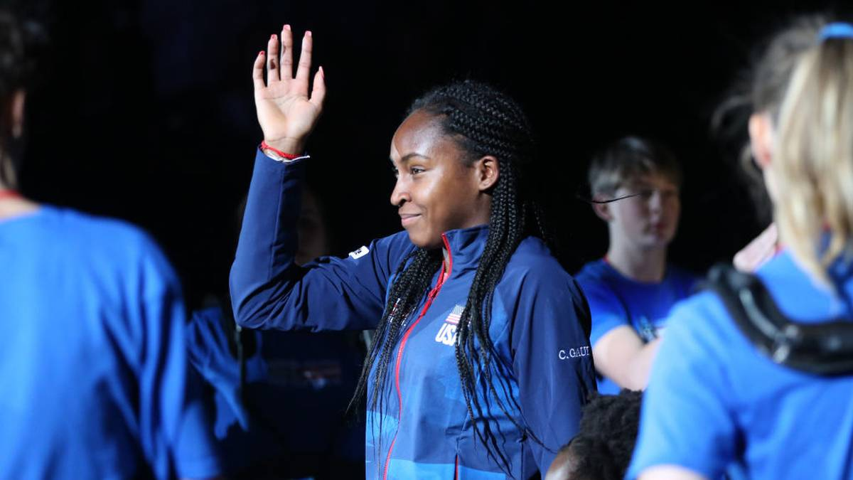 EVERETT, WASHINGTON - FEBRUARY 07: Coco Gauff of USA is introduced to the 2020 Fed Cup qualifier between USA and Latvia at Angel of the Winds Arena on February 07, 2020 in Everett, Washington. (Photo by Abbie Parr/Getty Images)