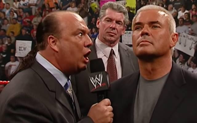 Vince McMahon (M.) holt Paul Heyman (l.) und Eric Bischoff für RAW und SmackDown ins Boot
